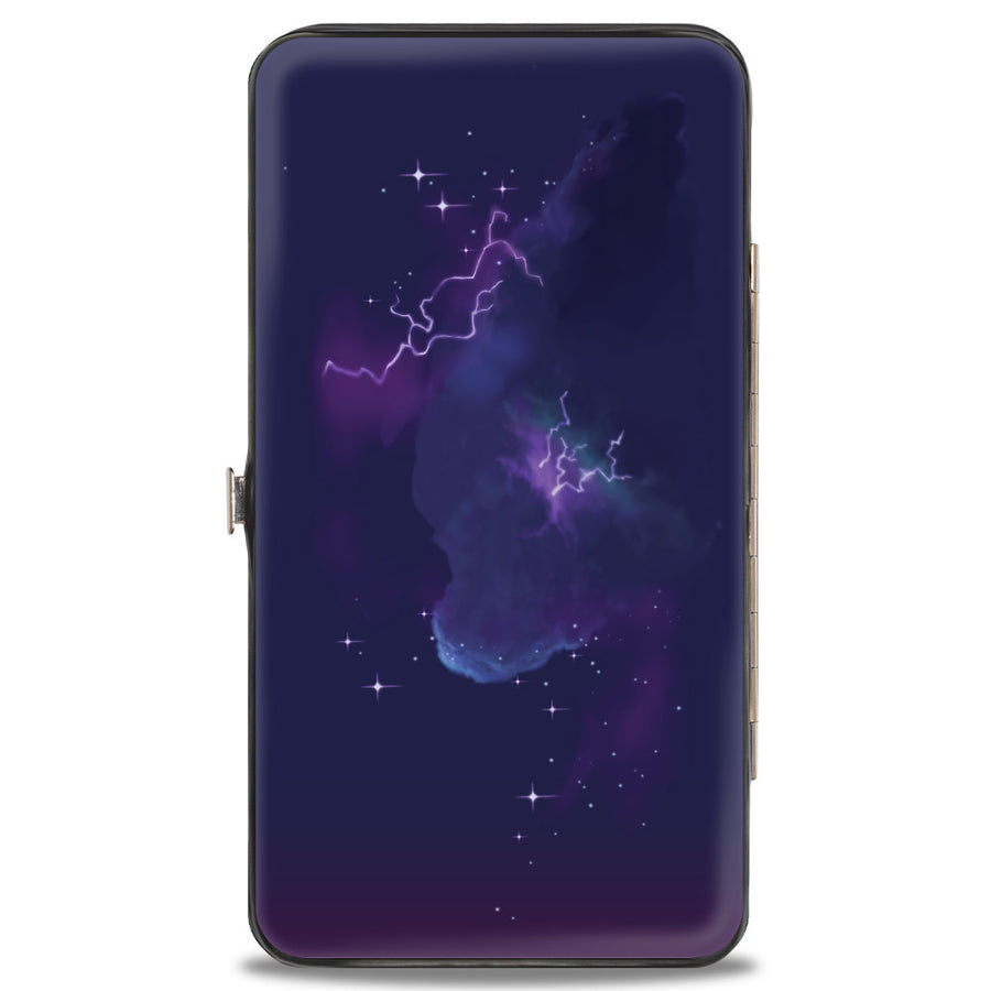 Hinged Wallet - Onward Barley LET LOOSE Smiling Pose + Galaxy Purples