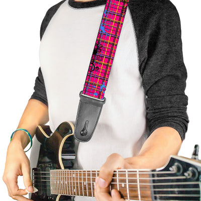 Guitar Strap - Plaid Curls Pink Black Yellow Blue