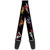 Guitar Strap - Mustang Silhouette Black International Flags