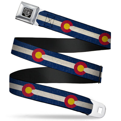 BD Wings Logo CLOSE-UP Full Color Black Silver Seatbelt Belt - Colorado Flags2 Repeat Vintage Webbing