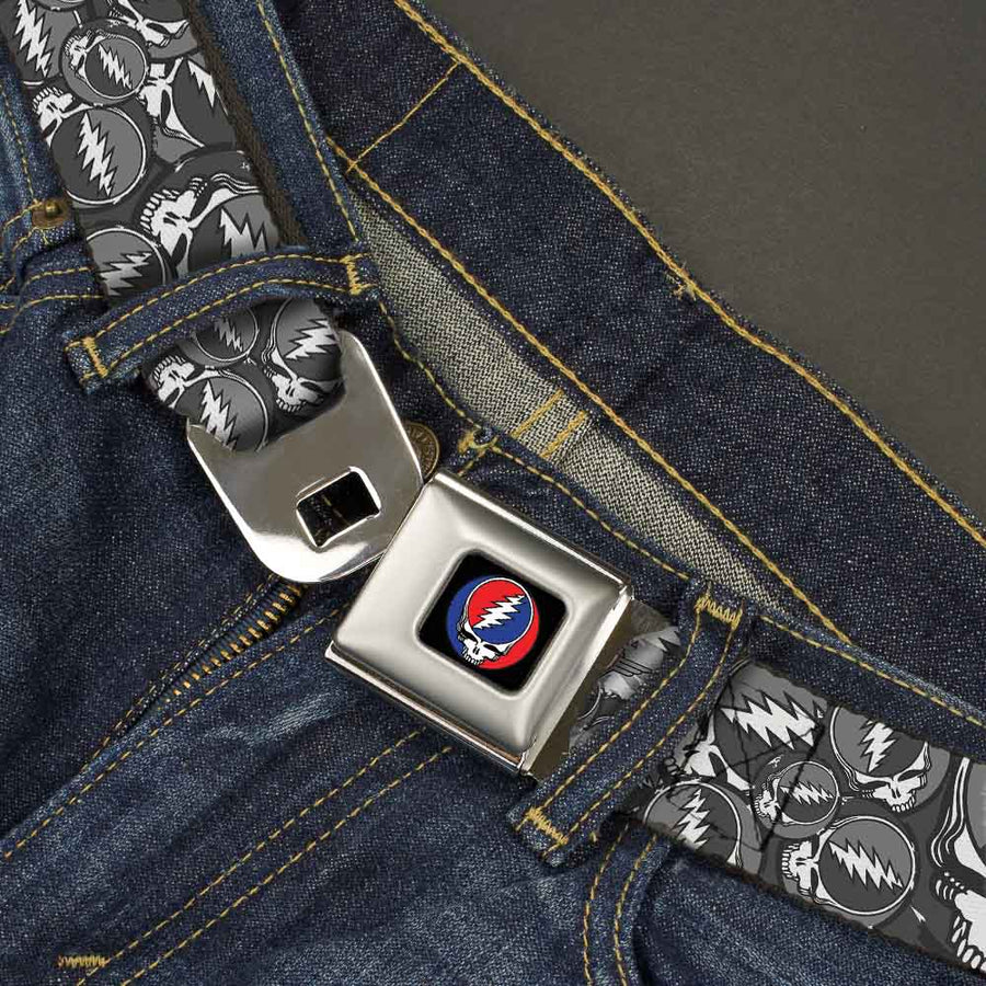 Steal Your Face Seatbelt Belt - Steal Your Face Stacked Gray Webbing