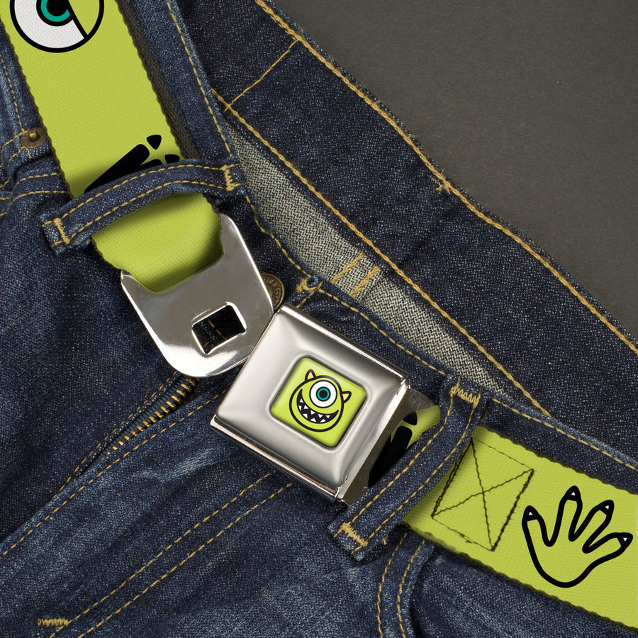 Monsters Inc. Mike Smiling Face Full Color Greens/Black/White Seatbelt Belt - Monsters Inc. Mike 4-Icons Greens/Black/White Webbing