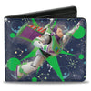 Bi-Fold Wallet - Toy Story Buzz Lightyear Flight Pose + Space Ranger Logo Icons Blues Greens