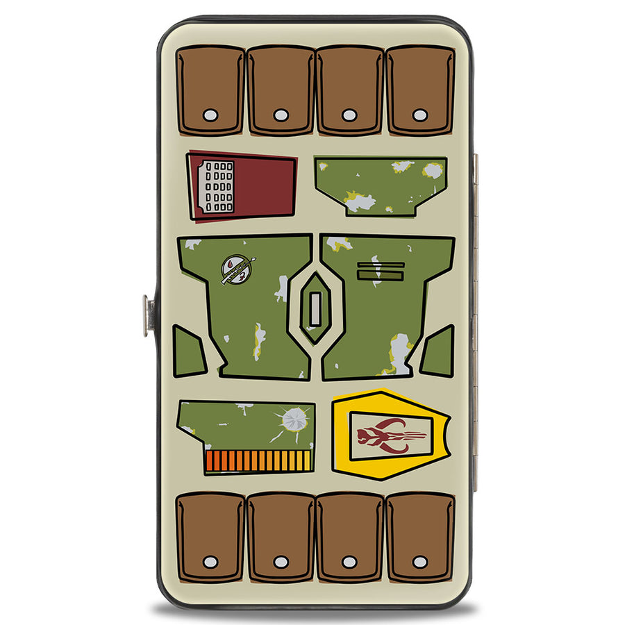 Hinged Wallet - Star Wars Boba Fett Helmet + Utility Elements Bounding Greens