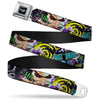 Batman Logo Full Color Black GOTHAM CITY Graffiti Seatbelt Belt - BATMAN/Joker Face CLOSE-UP Gotham City Graffiti Collage Webbing
