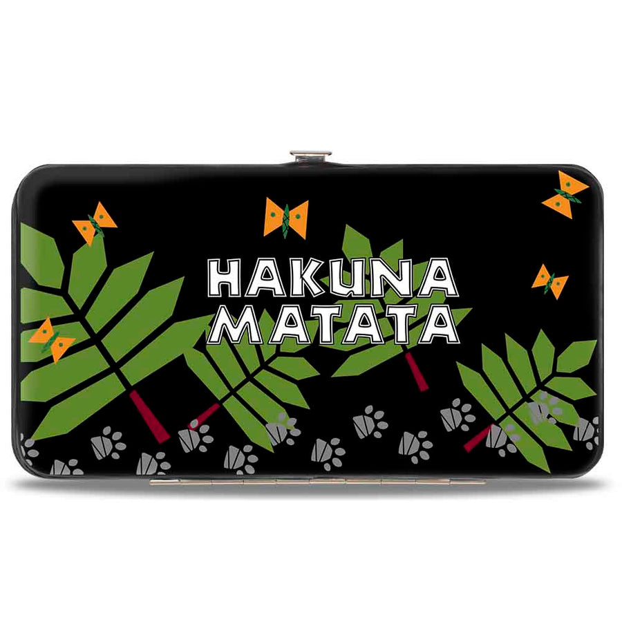 Hinged Wallet - The Lion King Young Simba & Nala Playing Pose + HAKUNA MATATA Leaves Butterflies Paws Black White Multi Color
