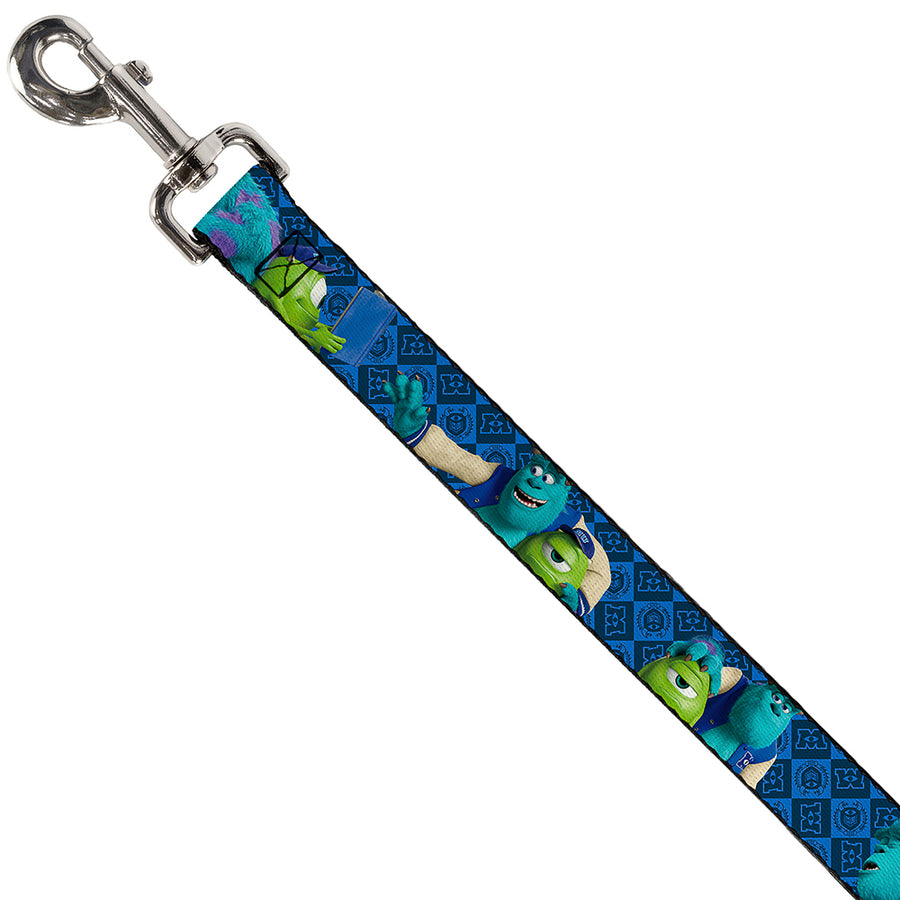 Dog Leash - Monsters University Sulley & Mike Poses/Checkers Blue