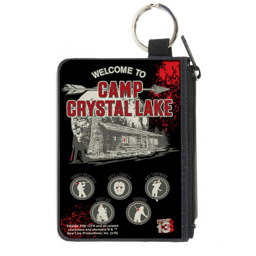 Canvas Zipper Wallet - MINI X-SMALL - Friday the 13th WELCOME TO CAMP CRYSTAL LAKE Jason Cabin Badges Black Grays Reds
