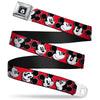 Mickey Mouse Winking Full Color Black Seatbelt Belt - Mickey Mouse Expressions Red/Black/White Webbing