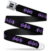 Batman Black Silver Seatbelt Belt - Batman Signal Black/Purple Plaid Webbing
