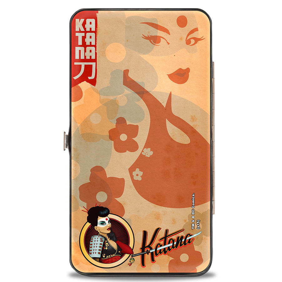 Hinged Wallet - KATANA Bombshell Pose Silhouette Face Flowers Tan Reds