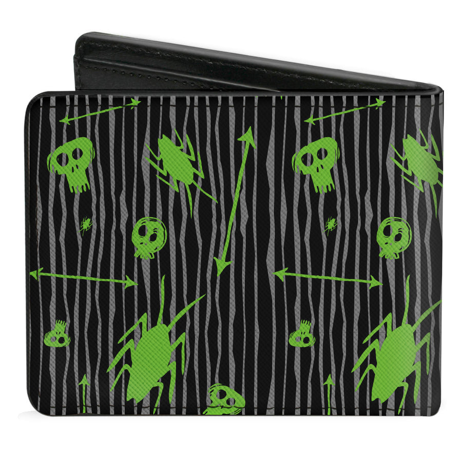 Bi-Fold Wallet - BEETLEJUICE Roach Skull Doodles Collage Black Gray Green Purple