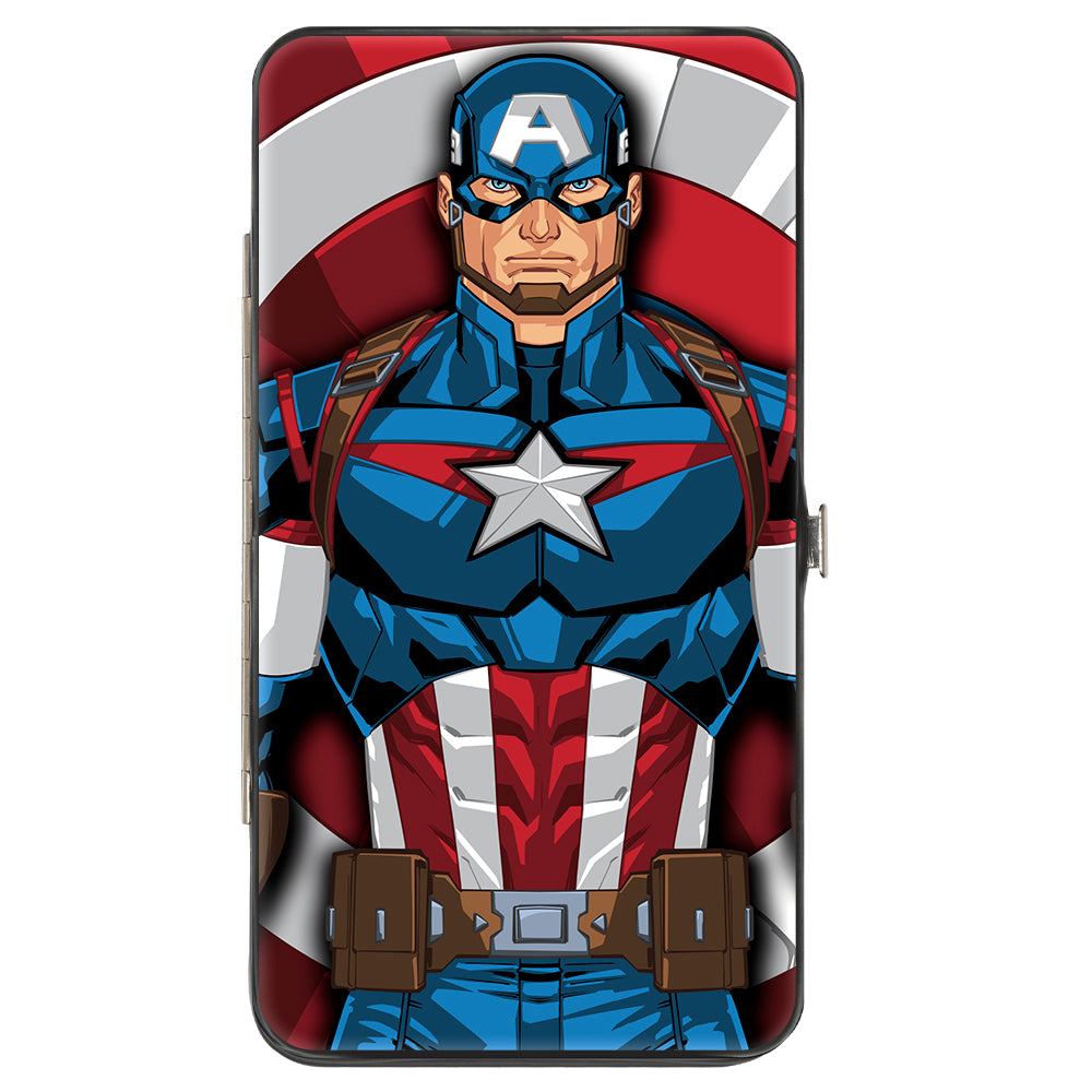 MARVEL AVENGERS Hinged Wallet - Captain America Standing Pose Shield + Shield CLOSEUP Pop Art
