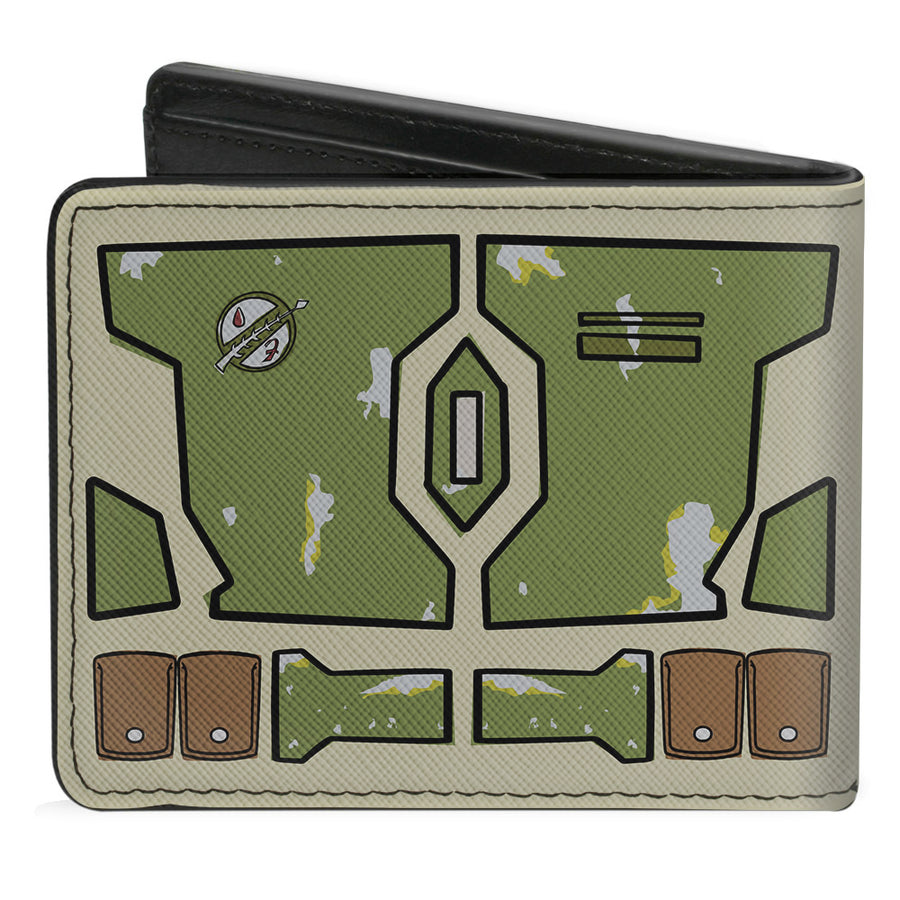 Bi-Fold Wallet - Star Wars Boba Fett Helmet Utility Elements Bounding Tan