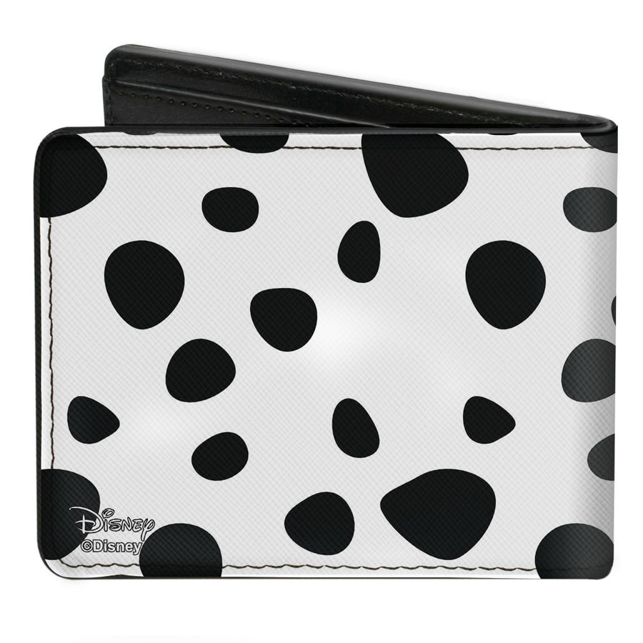 Bi-Fold Wallet - Cruella de Vil Cream Fur Pose + Spots Red Black
