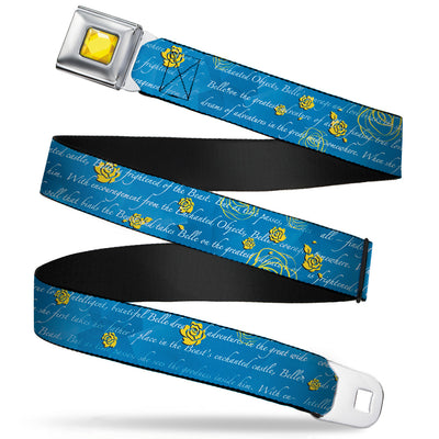 Princess Gem CLOSE-UP Full Color Yellow Seatbelt Belt - Beauty & the Beast Story Script Webbing