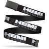 Black Buckle Web Belt - HEMI POWERED Logo Black/Gray/White Webbing