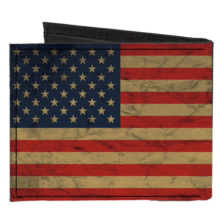 Canvas Bi-Fold Wallet - American Flag Weathered