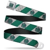 SLYTHERIN Crest Full Color Green Seatbelt Belt - SLYTHERIN Crest Diagonal Stripe Gray/Green Webbing