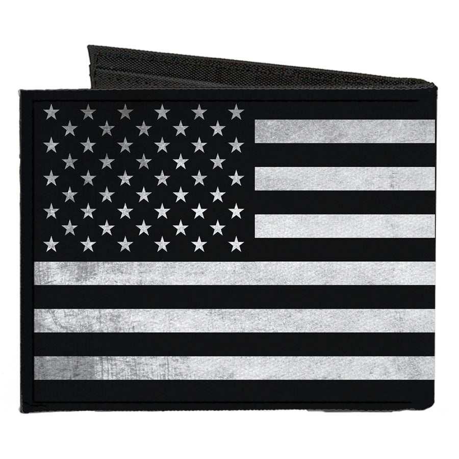 Canvas Bi-Fold Wallet - American Flag Weathered Black White