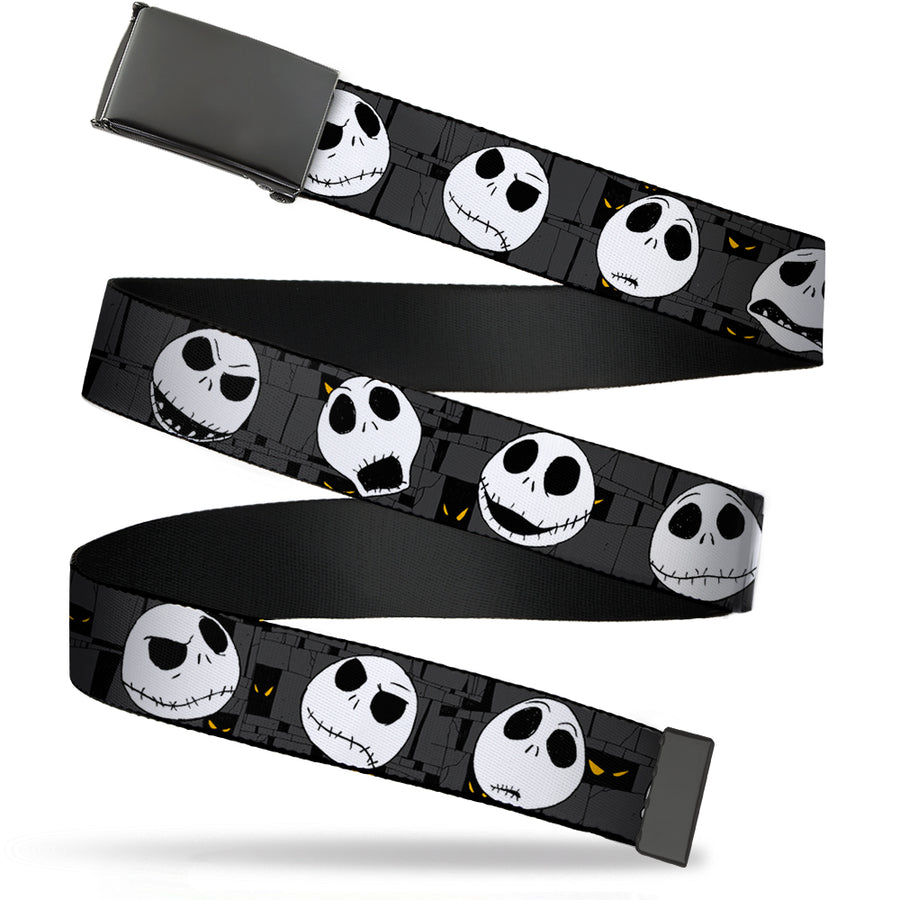 Black Buckle Web Belt - Nightmare Before Christmas Jack Expressions Gray Webbing