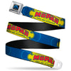 MOPAR Logo Full Color Black/Blue/White Seatbelt Belt - MOPAR 1937-1947 Logo-USE CHRYSLER ENGINEERED MOPAR PARTS AND ACCESSORIES Blue/Yellow/Red Webbing