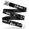 Winchester Logo Full Color Black White Seatbelt Belt - SUPERNATURAL 4-Character Poses/ASSBUTT-BITCH-JERK-IDJITS Black/Gray/White Webbing