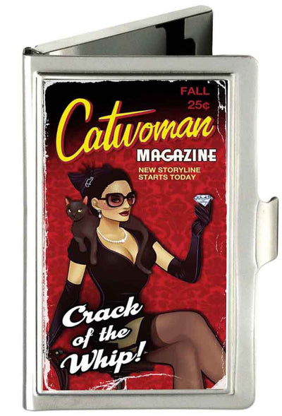 Business Card Holder - SMALL - CATWOMAN-CRACK OF A WHIP Bombshell Pose FCG Reds