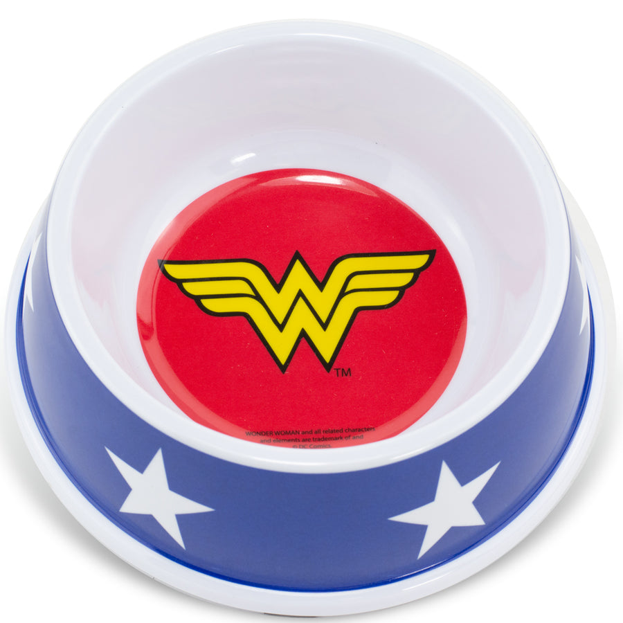 PBWL1-MLM-7.5-WWBW Single Melamine Pet Bowl - 7 5 (16oz) - Wonder Woman Icon + Stars