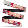 Chrome Buckle Web Belt - Porky Pig Expressions Red Webbing