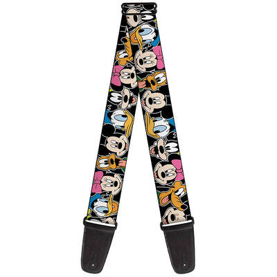 Guitar Strap - Classic Disney Character Faces Black