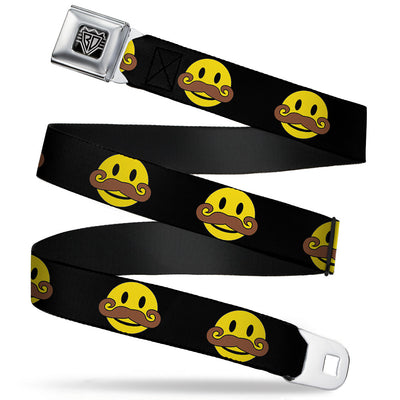 BD Wings Logo CLOSE-UP Full Color Black Silver Seatbelt Belt - Mustache Happy Face Black/Yellow/Brown Webbing