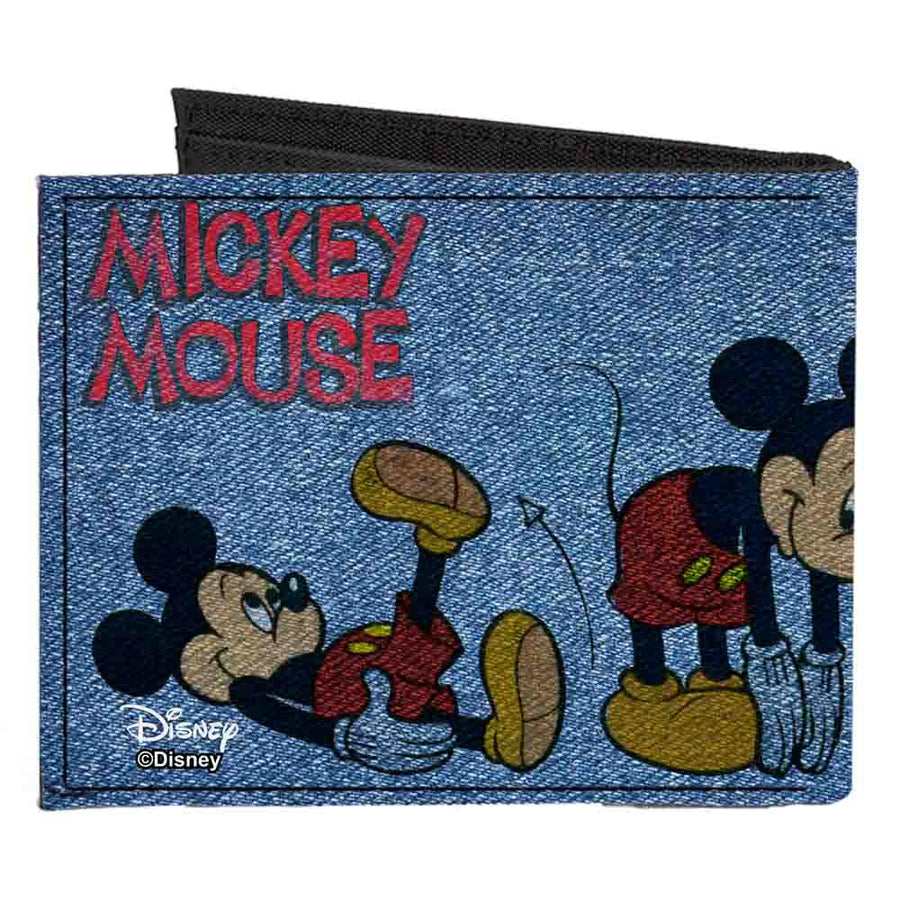 Canvas Bi-Fold Wallet - MICKEY MOUSE 4-Mousercise Poses Denim Blues Red