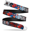Superman Shield Comics Scenes Stacked Full Color Black Grays Red Seatbelt Belt - New 52 SUPERMAN Poses/Shield/Comic Scenes Stacked Webbing