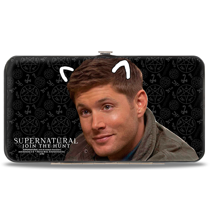 Hinged Wallet - SUPERNATURAL Sam Moose + Dean Sqirrel Poses Scattered Symbols Black Gray White