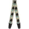 Guitar Strap - BLACK PEARL Ship Tattoo Splatter White Black Blue