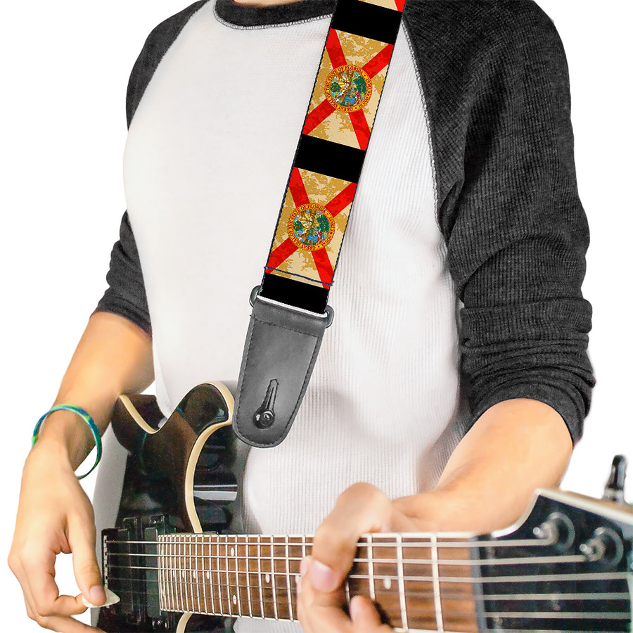 Guitar Strap - Florida Flags Black