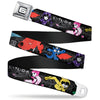 "Big Hero ""6"" Name Blocks Full Color Black Gray White Seatbelt Belt - Big Hero 6 Group Action Pose/Name Blocks Black/Gray/Multi Color Webbing"