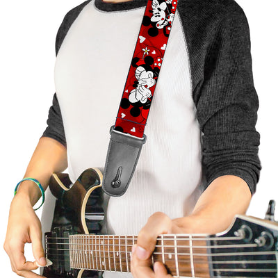Guitar Strap - Mickey & Minnie HUGS & KISSES Poses Reds White
