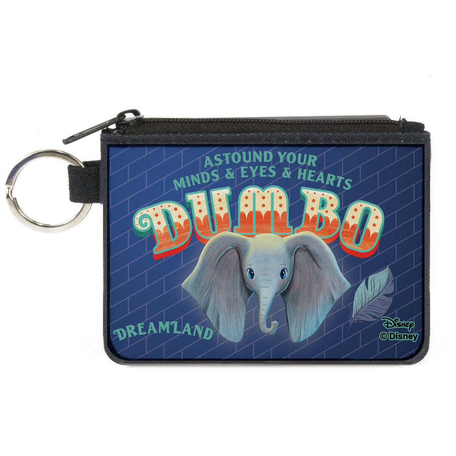 Canvas Zipper Wallet - MINI X-SMALL - Dumbo Face Feather ASTOUND YOUR MIND & EYES & HEARTS Circus Sign Blues