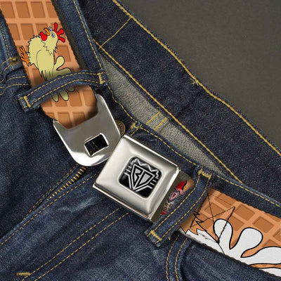 BD Wings Logo CLOSE-UP Full Color Black Silver Seatbelt Belt - Waffle/Chicken Poses Webbing