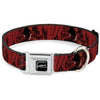 A NIGHTMARE ON ELM STREET Logo Full Color Black/Reds Seatbelt Buckle Collar - Freddy Poses/Quote Scrawls/Hand Scratching2 Reds/Black