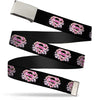 Chrome Buckle Web Belt - Super Shield Hibiscus Design Black/Pink Webbing