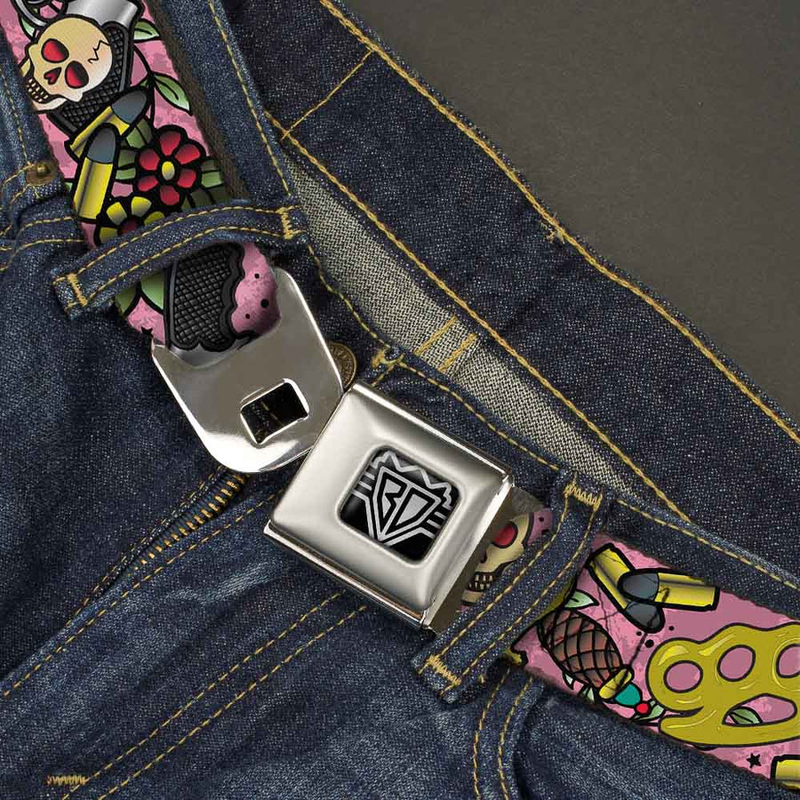 BD Wings Logo CLOSE-UP Full Color Black Silver Seatbelt Belt - Born to Raise Hell CLOSE-UP Pink Webbing