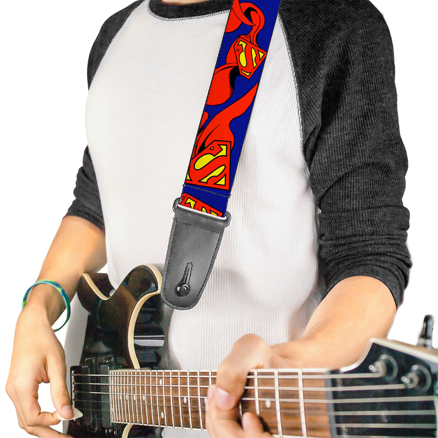 Guitar Strap - Superman Shield w Cape