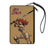 Canvas Zipper Wallet - LARGE - RED SONJA Sword Action Pose Tan