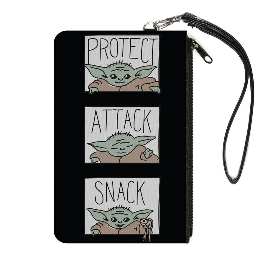 Canvas Zipper Wallet - LARGE - Star Wars The Child PROTECT ATTACK SNACK Pose Blocks Black