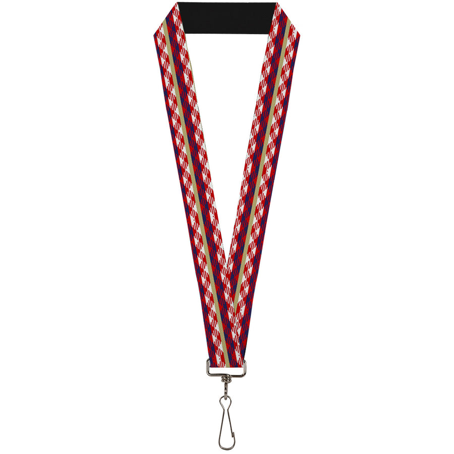 "Lanyard - 1.0"" - Geometric Weave Tan White Red Blue"