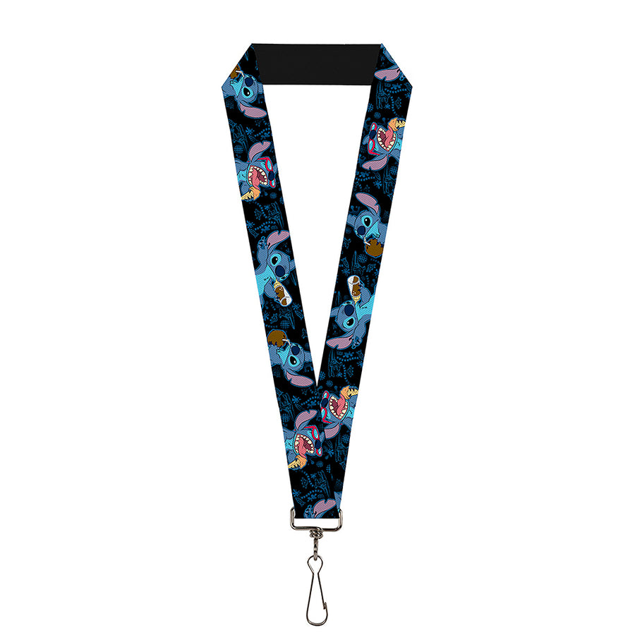 "Lanyard - 1.0"" - Stitch Snacking Poses Black Blue"