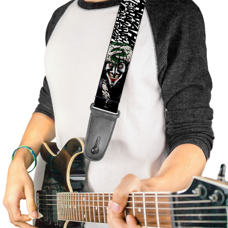 Guitar Strap - Joker The Killing Joke Holding Head Pose HAHAHA Repeat White Black